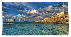 Tel Aviv Jaffa Shoreline Beach Towel by Ron Shoshani