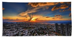 Tel Aviv Sunset Time Beach Towel by Ron Shoshani