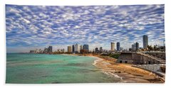 Tel Aviv Turquoise Sea At Springtime Beach Sheet by Ron Shoshani