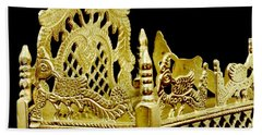 Temple Art - Brass Handicraft Beach Towel by Ramabhadran Thirupattur