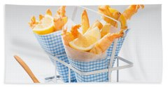 Tempura Prawns Beach Towel by Amanda Elwell