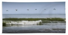 Beach Towel featuring the photograph Ten Pelicans by Steven Sparks