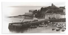 Tenby Harbour And Castle Hill Vignette Beach Towel