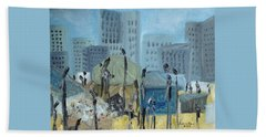 Beach Towel featuring the painting Tent City Homeless by Judith Rhue
