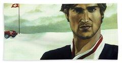 Terence Has An Altitude Acrylic & Oil On Canvas Beach Towel