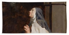 Teresa Of Avilas Vision Of A Dove Beach Towel by Peter Paul Rubens