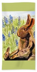 Beach Towel featuring the painting Terra Cotta Bunny Family by Angela Davies