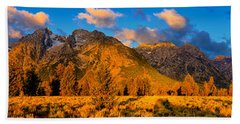 Beach Towel featuring the photograph Teton Mountain View Panorama by Greg Norrell