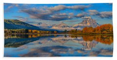 Teton Panoramic Reflections At Oxbow Bend Beach Towel