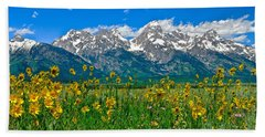 Teton Peaks And Flowers Beach Sheet