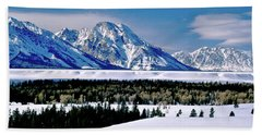 Teton Valley Winter Grand Teton National Park Beach Towel