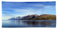 Tetons By The Lake Beach Sheet by Ausra Huntington nee Paulauskaite
