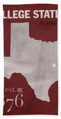 Texas A And M University Aggies College Station College Town State Map Poster Series No 106 Beach Towel