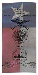 Texas Badge Patent On Texas Flag Beach Towel