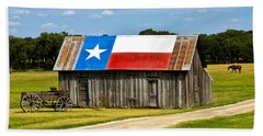 Texas Barn Flag Beach Towel