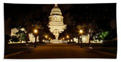 Beach Towel featuring the photograph Texas Capitol At Night by Dave Files