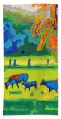 Texas Cows At Sunset Oil Painting Bertram Poole Apr14 Beach Sheet by Thomas Bertram POOLE