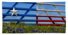 Texas Flag Painted Gate With Blue Bonnets Beach Sheet