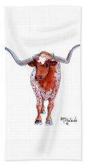 Texas Longhorn Beach Towel by Kathleen McElwaine