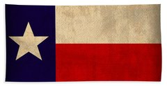 Texas State Flag Lone Star State Art On Worn Canvas Beach Towel by Design Turnpike