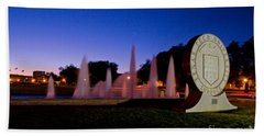 Beach Towel featuring the photograph Texas Tech University Seal And Blue Sky by Mae Wertz