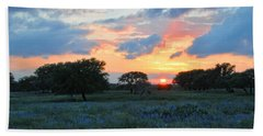 Texas Wildflower Sunset  Beach Towel