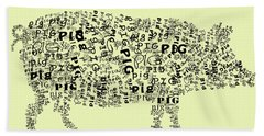 Text Pig Beach Towel