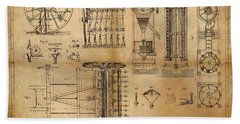 Beach Sheet featuring the painting Textile Machine by James Christopher Hill