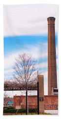 Beach Towel featuring the photograph Historical Textile Mill Smoke Stack In Columbus Ga by Vizual Studio