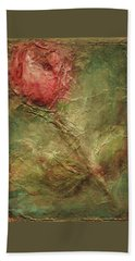 Beach Towel featuring the painting Textured Rose Art by Mary Wolf