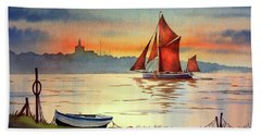 Thames Barge At Maldon Essex Beach Towel
