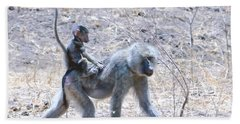 Thanks For The Ride Olive Baboon Beach Towel by Tom Wurl