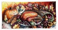 Thanksgiving Dinner Beach Towel