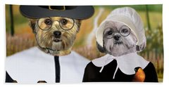 Beach Towel featuring the digital art Thanksgiving From The Dogs by Kathy Tarochione