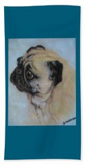 Pug's Worried Look Beach Towel