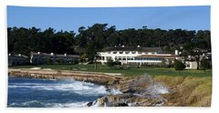 The 18th At Pebble Beach Beach Sheet by Barbara Snyder