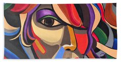 Abstract Woman Art, Abstract Face Art Acrylic Painting Beach Sheet