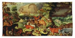 The Animals Entering The Ark Beach Towel by Jacob II Savery