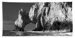 The Arch Cabo San Lucas In Black And White Beach Towel by Sebastian Musial