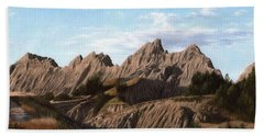 The Badlands In South Dakota Oil Painting Beach Towel