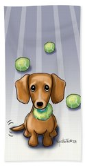 Beach Towel featuring the mixed media The Ball Catcher by Catia Lee