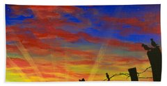 The Birds - Red Sky At Night Beach Sheet by Jack Malloch