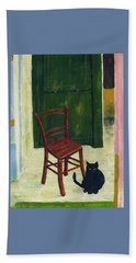 The  Black Cat Beach Towel by Hartmut Jager