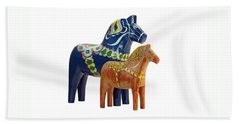 The Blue And Red Dala Horse Beach Towel