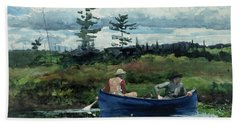 The Blue Boat Beach Sheet by Winslow Homer