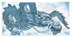 The Blue Dragon Beach Towel by Troy Levesque