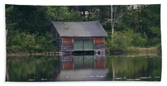Beach Towel featuring the photograph The Boat House On Mt Chocorua Lake by Denyse Duhaime