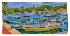 Beach Towel featuring the digital art The Boats Of Hautulco by Deborah Boyd