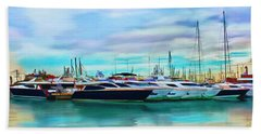 Beach Towel featuring the painting The Boats Of Malaga Spain by Deborah Boyd
