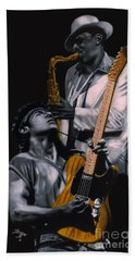 Beach Towel featuring the painting Bruce Springsteen And Clarence Clemons by Thomas J Herring